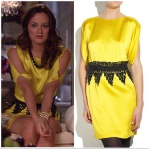 Tibi yellow silk beaded dress 0